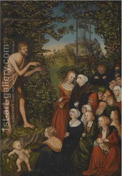 Saint John The Baptist Preaching In The Wilderness by (after) Lucas The Younger Cranach - Reproduction Oil Painting