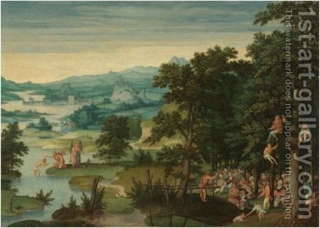 A River Landscape With St John The Baptist Preaching And The Baptism Of Christ by (after) Cornelis Massys - Reproduction Oil Painting