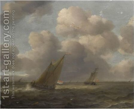 A Seascape With Small Dutch Vessels In A Stiff Breeze by (after) Hendrick Van Anthonissen - Reproduction Oil Painting