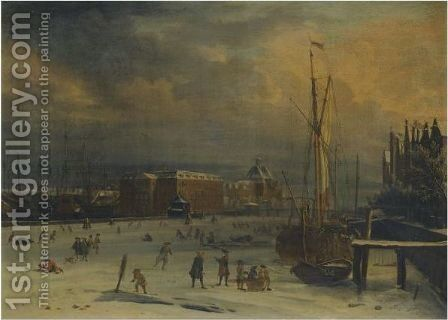 Amsterdam, A View Of The 's Lands Zeemagazijn In Winter by Jacobus Storck - Reproduction Oil Painting