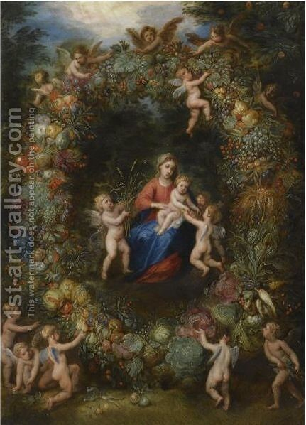 The Virgin And Child With Angels In A Garland Of Flowers by Jan, the Younger Brueghel - Reproduction Oil Painting