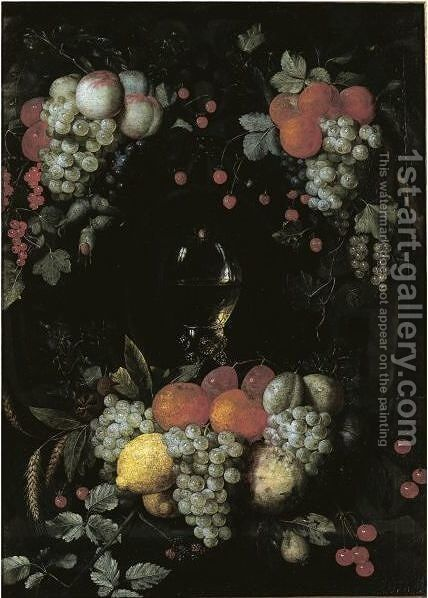 A Still Life With A Roemer, Oranges, Grapes, Plums, Lemons And Other Fruit In A Niche Surrounded By Garlands Of Fruit by Jan Pauwel Gillemans The Elder - Reproduction Oil Painting
