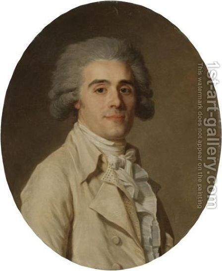 Portrait Of A Gentleman, Half Length, Wearing White by Jean-Louis Voille - Reproduction Oil Painting