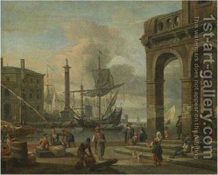 A Mediterranean Harbour Capriccio With Figures Unloading Cargo In The Foreground by Abraham Storck - Reproduction Oil Painting