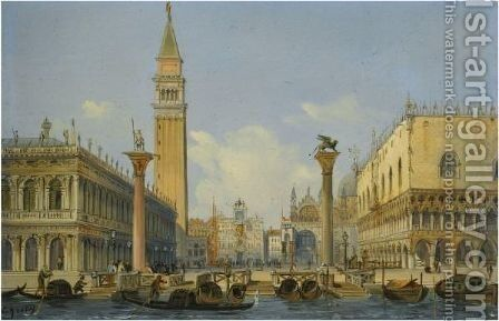 Venice, A View Of The Piazzetta From The Bacino Di San Marco by Carlo Grubacs - Reproduction Oil Painting