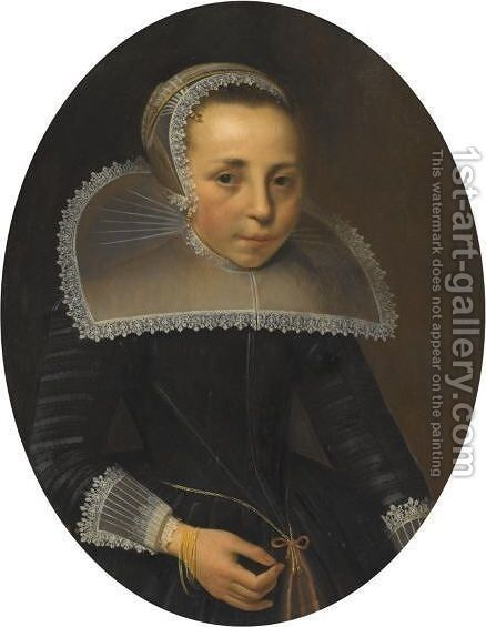 Portrait Of A Lady, Half Length, Wearing A Black Dress With White Lace Ruff And Headress by (after) Thomas De Keyser - Reproduction Oil Painting