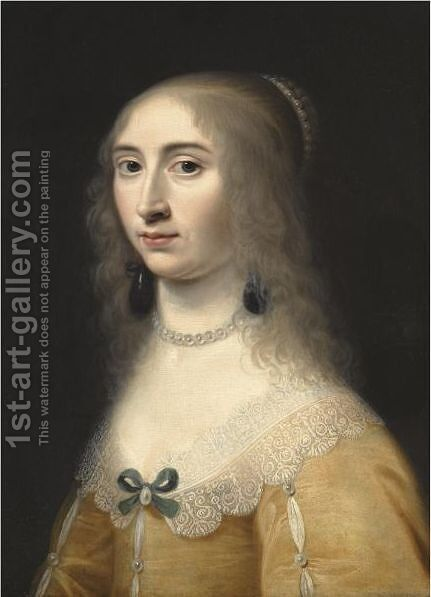 Portrait Of A Lady, Head And Shoulders, Wearing A Yellow Dress And A Pearl Necklace And Headdress by Jacob Willemsz II Delff - Reproduction Oil Painting