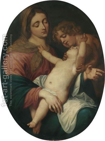 The Virgin And Child With The Infant Saint John The Baptist by (after) Dyck, Sir Anthony van - Reproduction Oil Painting