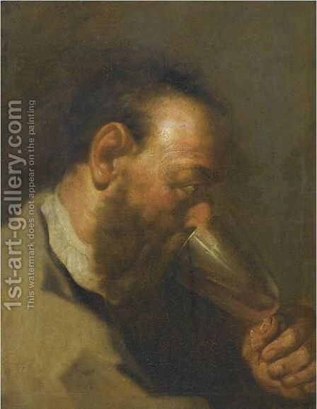 Study Of A Bearded Man Drinking by (after) Giovanni Battista Piazzetta - Reproduction Oil Painting