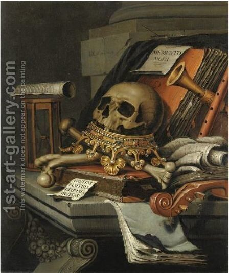 A Vanitas Still Life With A Skull Surmounting A Crown, Books, Scrolls, An Hour-Glass, A Violin And Other Musical Instruments, All Resting Upon A Stone Ledge by Edwart Collier - Reproduction Oil Painting