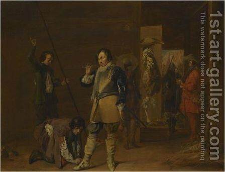 An Interior With Cavaliers Preparing For Battle by (after) Willem Cornelisz. Duyster - Reproduction Oil Painting