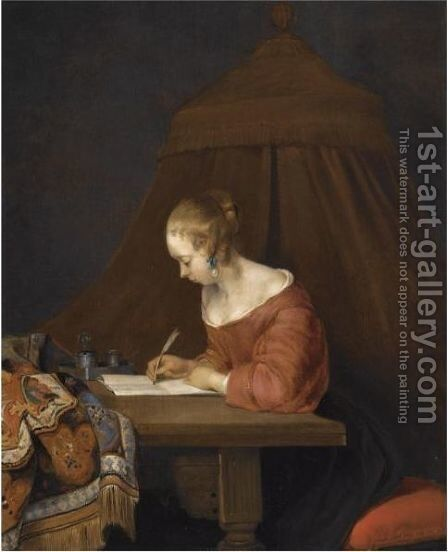 A Young Lady Writing At Her Desk by (after) Gerard Ter Borch - Reproduction Oil Painting