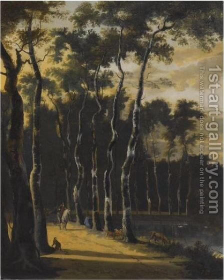 A Wooded Landscape With A Horseman On A Path In The Foreground by (after) Jan Hackaert - Reproduction Oil Painting
