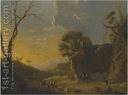 An Extensive Italianate Landscape With Travellers And Goat Herders Resting In The Foreground by (after) Herman Van Swanevelt - Reproduction Oil Painting