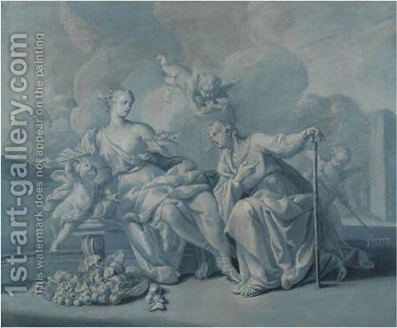 Vetrumnus And Pomona by (after)  Jacopo (Giacomo) Amigoni - Reproduction Oil Painting
