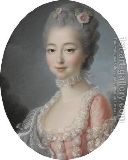 Portrait Of A Lady, Half-Length, Wearing A Pink Dress With A Lace Trim by (after) Franois-Hubert Drouais - Reproduction Oil Painting