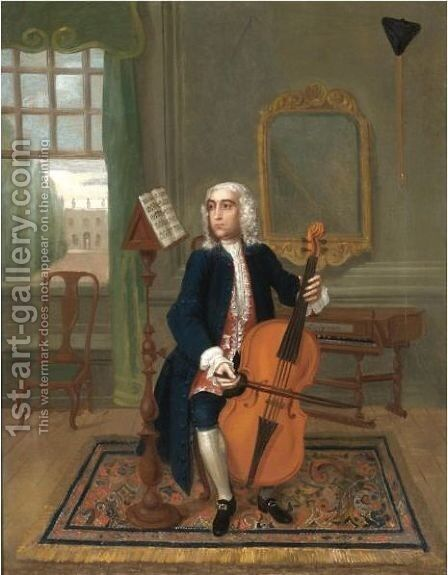 Portrait Of A Gentleman, Full Length, Seated Playing A Cello, A Spinet Behind by Charles Philips - Reproduction Oil Painting