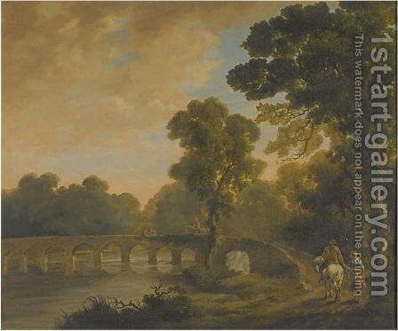 Travellers On A Bridge, In A River Landscape by (after) George Barrett - Reproduction Oil Painting