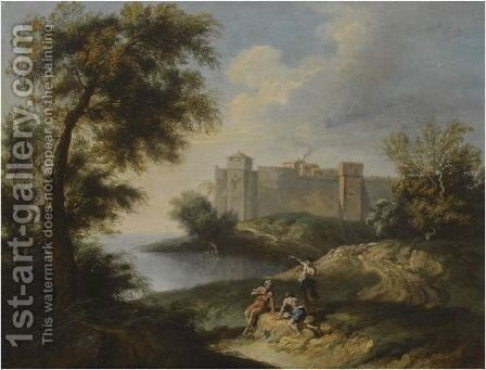 A Coastal Landscape With Figures In The Foreground And A Fortified Town Beyond by (after) Andrea Locatelli - Reproduction Oil Painting