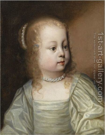 Portrait Of A Young Girl, Head And Shoulders, Wearing A Great Dress And Pearls by (after) Dyck, Sir Anthony van - Reproduction Oil Painting