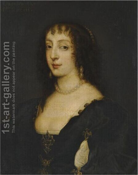 Portrait Of Queen Henrietta Maria 3 by (after) Dyck, Sir Anthony van - Reproduction Oil Painting
