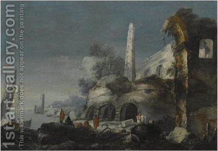 A Capriccio Coastal Scene With Figures By Ruins In The Foreground by (after) Antonio Stom - Reproduction Oil Painting