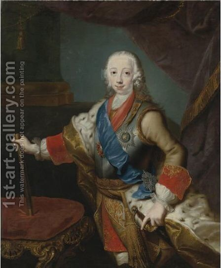 Portrait Of The Great Prince Peter Fedorovich by (after) Georg Christoph Grooth - Reproduction Oil Painting