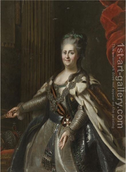 Portrait Of Catherine The Great by (after) Anton Albertrandi - Reproduction Oil Painting