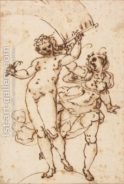 Two Allegorical Figures by (after) Luca Cambiaso - Reproduction Oil Painting