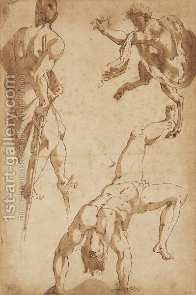 Studies Of Figures And A Faun by (after) Fiorentino Rosso - Reproduction Oil Painting