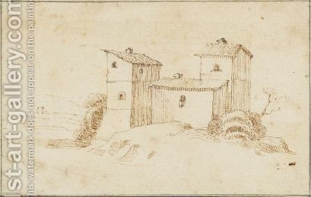 Study Of A Building In A Landscape by (after) Stefano Della Bella - Reproduction Oil Painting