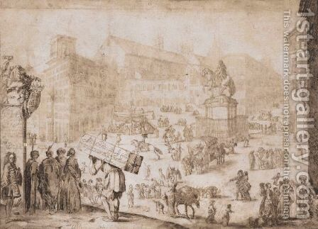 Figures Walking In A City Square by (after) Stefano Della Bella - Reproduction Oil Painting