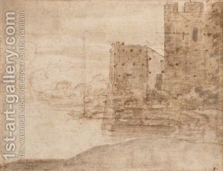 Chateau Fort Au Bord D'une Riviere by Claude Lorrain (Gellee) - Reproduction Oil Painting