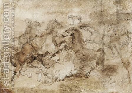And A Battle Of Horses by (after) Theodore Gericault - Reproduction Oil Painting