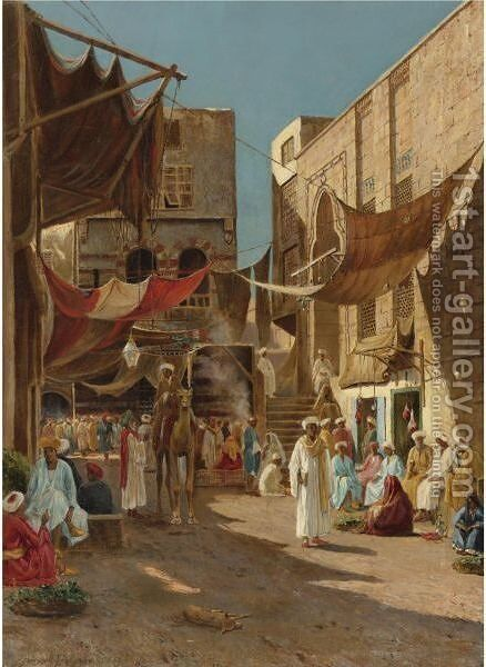A Day In The Market by Henry A. Ferguson - Reproduction Oil Painting