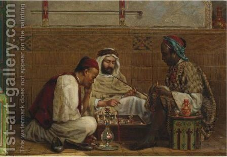 A Game Of Chess by Jan Baptist Huysmans - Reproduction Oil Painting