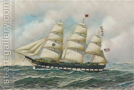 Black Ball Liner, Great Western by Antonio Jacobsen - Reproduction Oil Painting