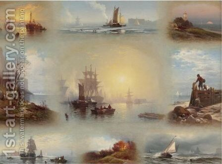 Nine Landscapes, Seasons by Edward Moran - Reproduction Oil Painting