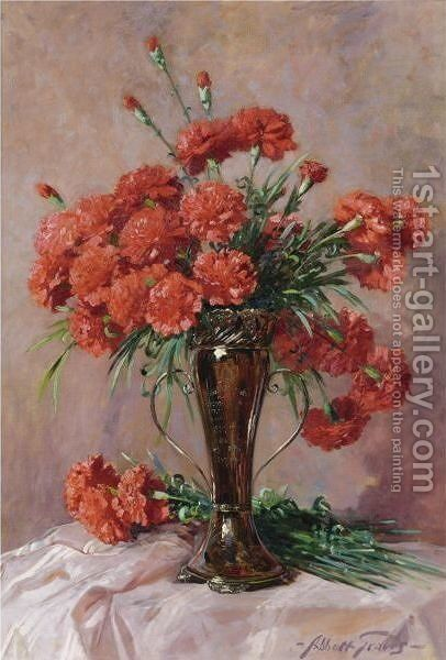Red Carnations In A Silver Vase by Abbott Fuller Graves - Reproduction Oil Painting