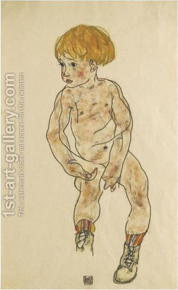 The Artist's Nephew, Anton Peschka, Jr. by Egon Schiele - Reproduction Oil Painting