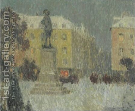 La Place Hoche, Versailles by Henri Eugene Augustin Le Sidaner - Reproduction Oil Painting