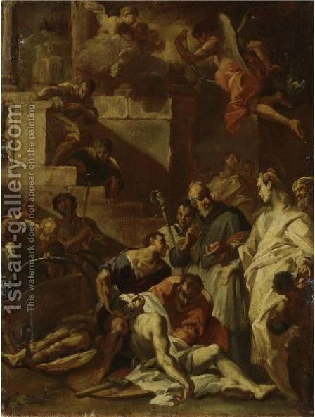 A Saint During A Plague by Italian School - Reproduction Oil Painting