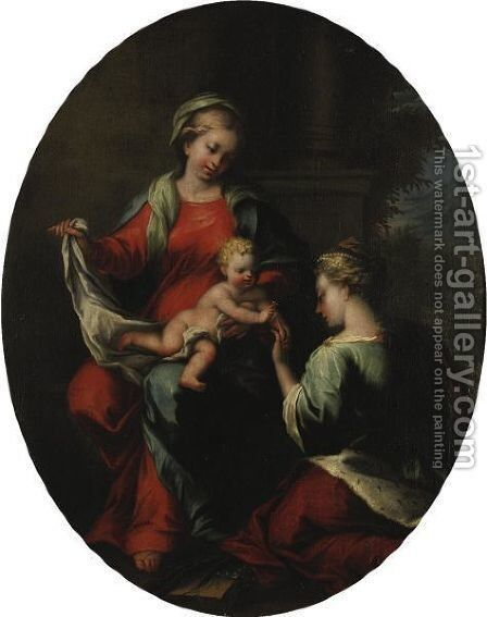 Mystic Marriage Of Saint Catherine by Neapolitan School - Reproduction Oil Painting