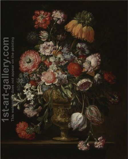 Still Life Of Flowers In A Pewter Vase by Italian School - Reproduction Oil Painting