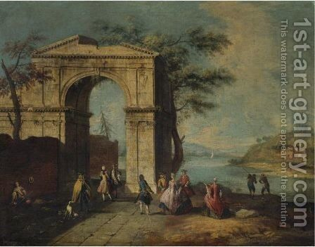 Elegant Figures Standing By A Classical Arch by (after) Francesco Albotto - Reproduction Oil Painting