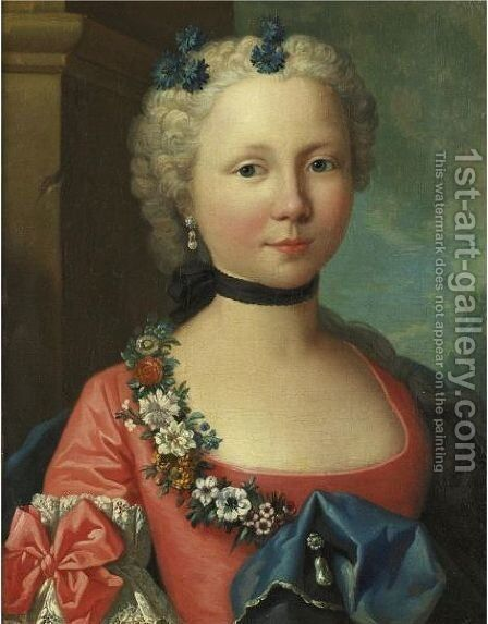 Portrait Of A Lady In A Pink Dress by (after) Longhi, Pietro - Reproduction Oil Painting