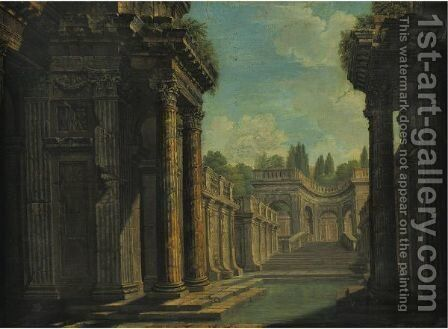 Architectural Capriccio With Roman Ruins by (after) Giovanni Paolo Panini - Reproduction Oil Painting
