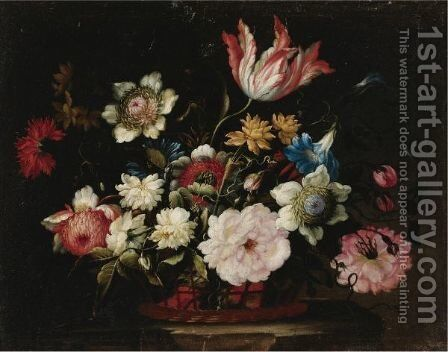 Still Life With Flowers In A Basket by (after) Jean-Baptiste Monnoyer - Reproduction Oil Painting
