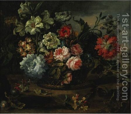 Still Life With Flowers In A Basket Resting On A Ledge by (after) Antoine Monnoyer - Reproduction Oil Painting