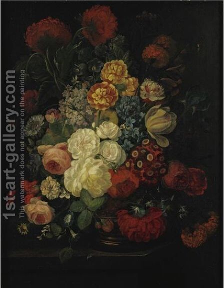 Still Life With Flowers In A Vase by (after) Jean-Baptiste Monnoyer - Reproduction Oil Painting
